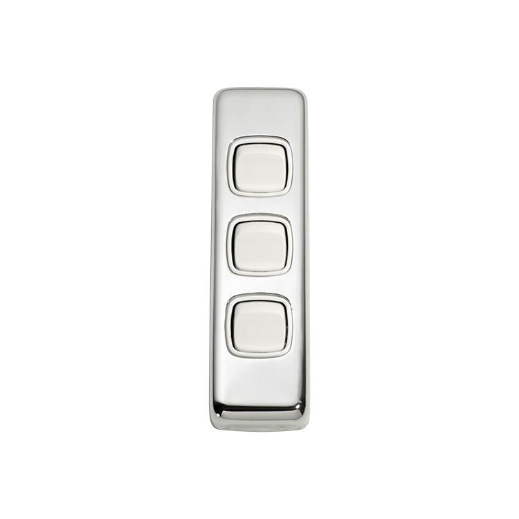 Switch Flat Plate Rocker 3 Gang White Chrome Plated H108xW30mm