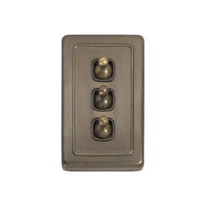 Switch Flat Plate Toggle 3 Gang Brown Antique Brass H115xW72mm