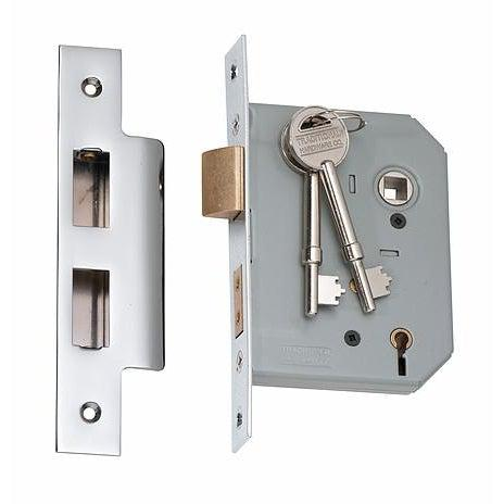 Mortice Lock 5 Lever Chrome Plated CTC57mm Backset 57mm