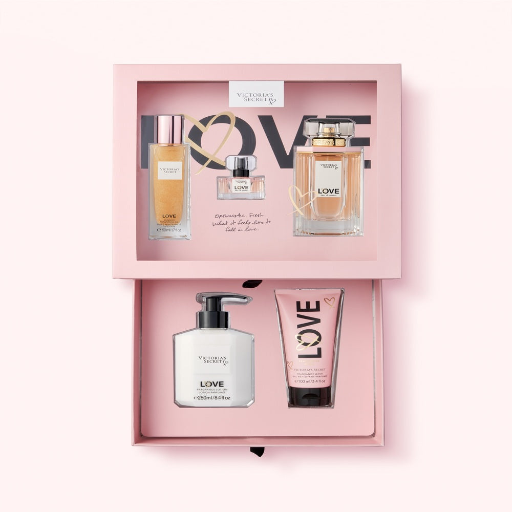 LOVE EDP 100 ML + 7.5ML + SHIMMER 50 ML + BODY LOTION + SHOWER GEL 100ML - VICTORIA'S SECRET