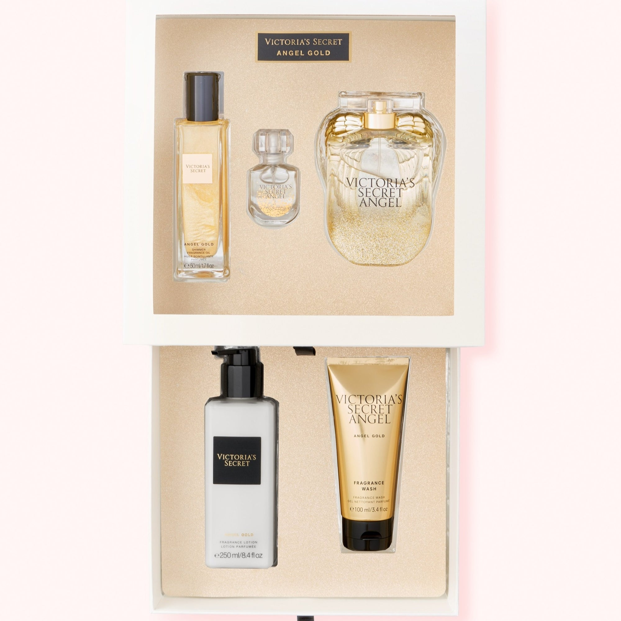 ANGEL GOLD EDP 100 ML + 7.5ML + BODY LOTION 250 ML + SHOWER GEL 100 + S/O 50 ML - VICTORIA'S SECRET