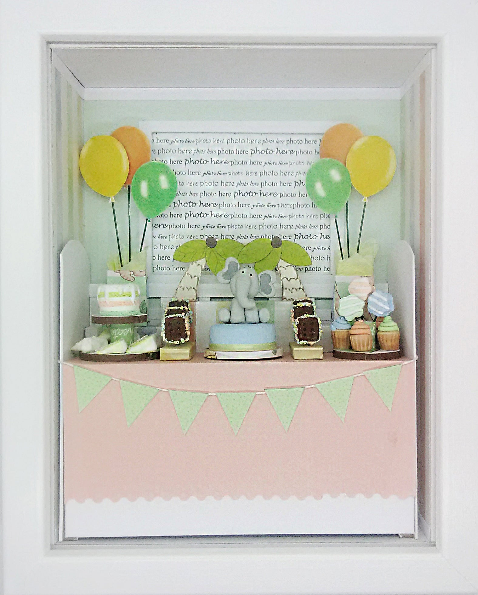 Shadowbox Photo Frame - Baby Elephant