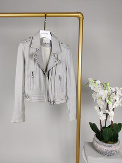 Iro Powder Grey Leather Biker Jacket Size 38