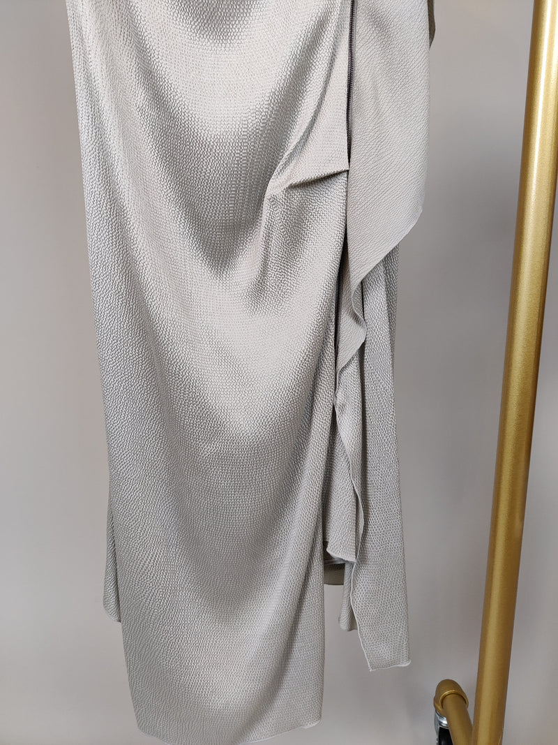 Roland Mouret Silver Drape Dress in Stretch Silk Size 10UK