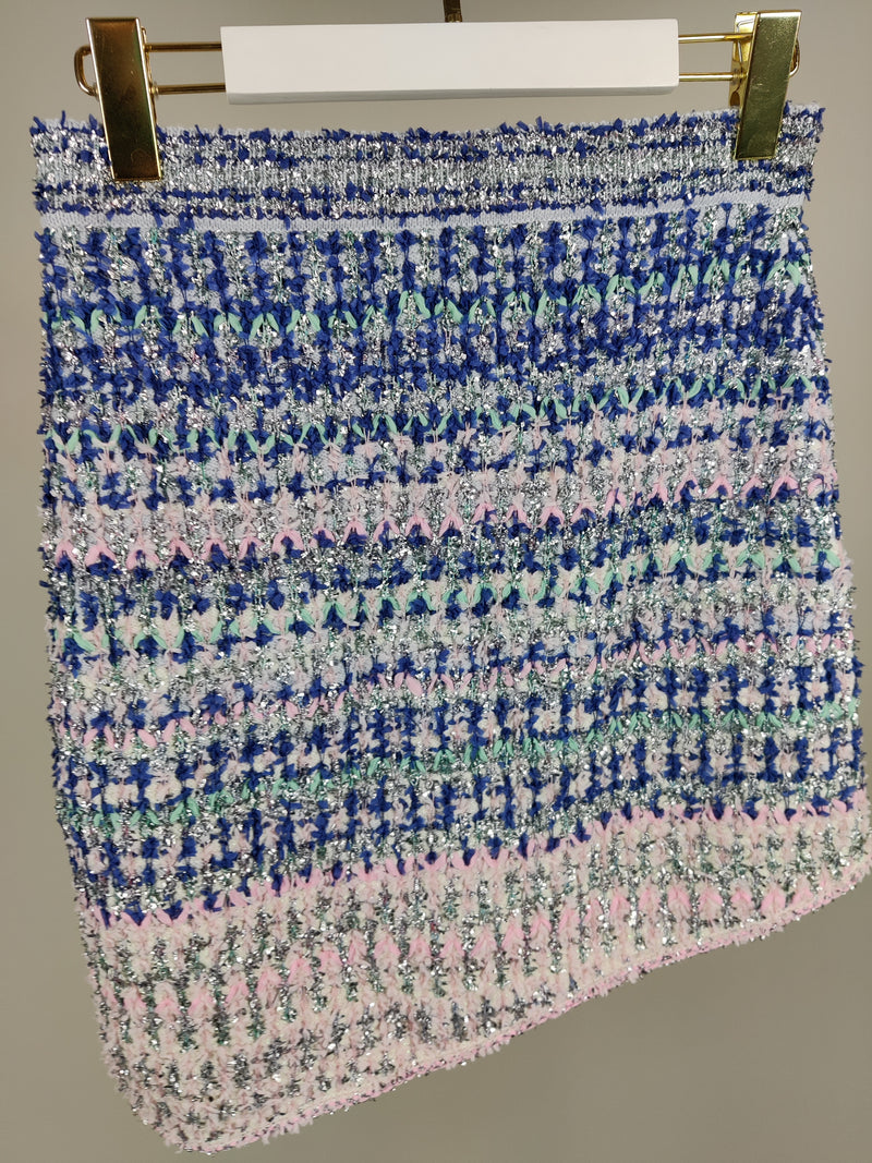 Chanel Baby Blue and Pink Tweed Skirt Size 38 (UK10)