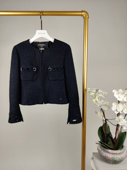 Chanel Navy Wool Zip Blazer Size 36 (UK8)