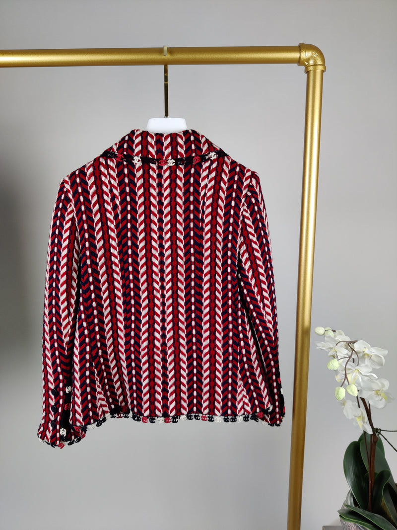 Chanel Red, White & Black Wool Tweed Jacket and Skirt Size 38 (UK 10)