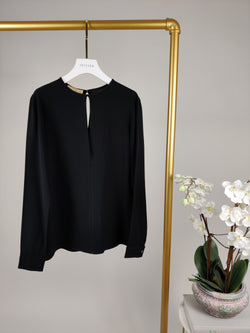 Michael Kors Black Silk Long Sleeves Top  UK 10