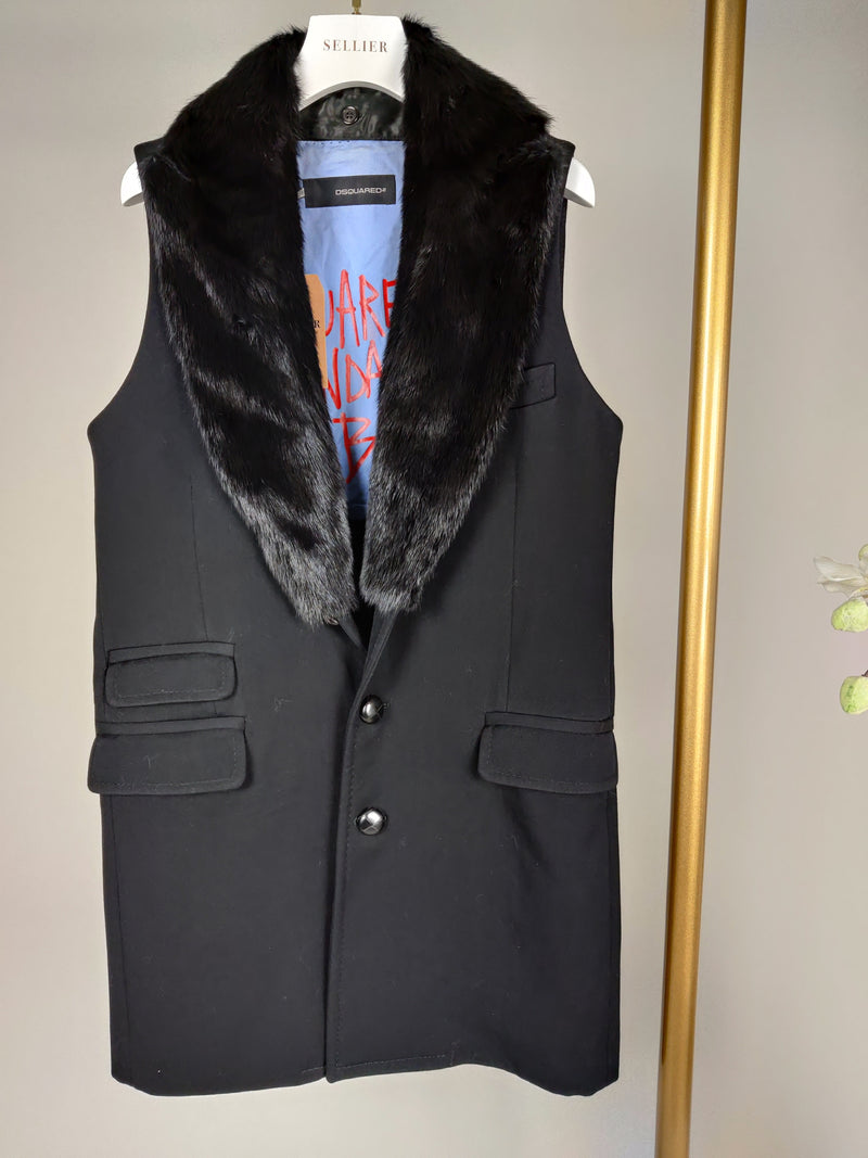 DSquared2 Black Sleeveless Gilet with Fur Collar Size 8-10UK