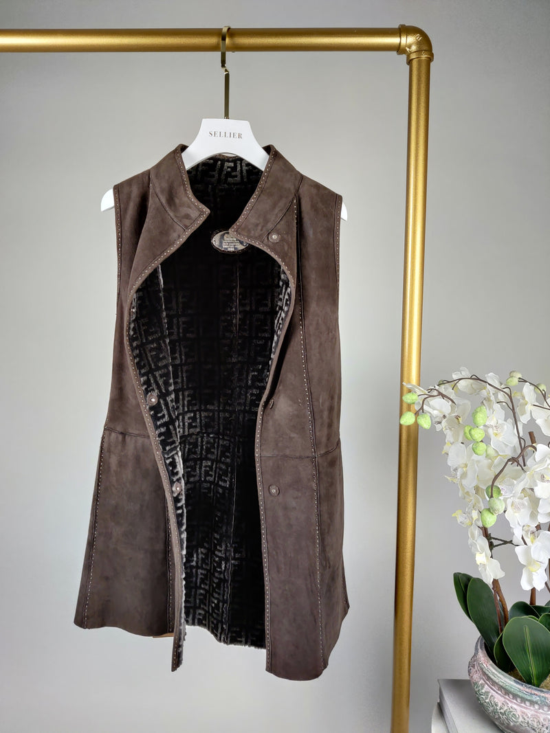 Fendi Brown Suede and Shearling Monogram Gilet Size 42 (UK10)
