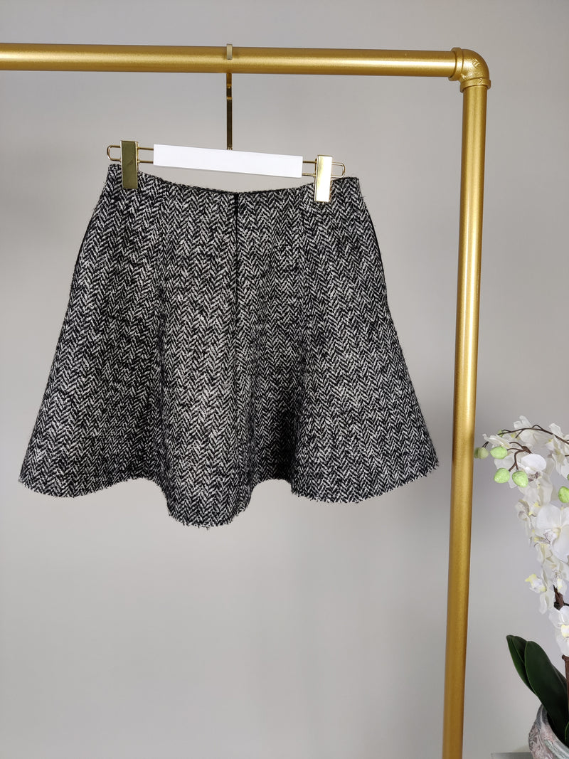 MSGM Black and White Tweed A-Line Skirt Size 40 (UK8)