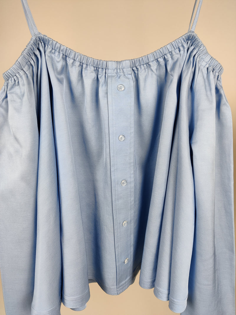 Sandy Liang Blue Buttoned Up Top Size 38 (UK10)