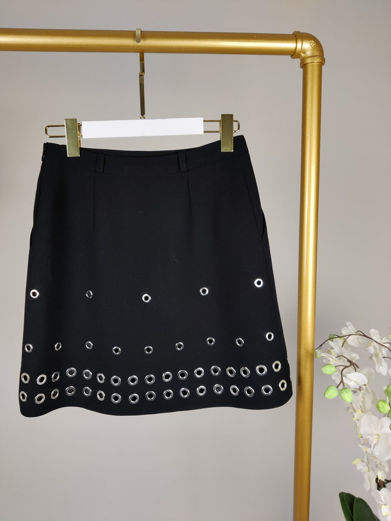 Barbara Bui Black Skirt with Silver Eyelet Details Size 36 (UK8)