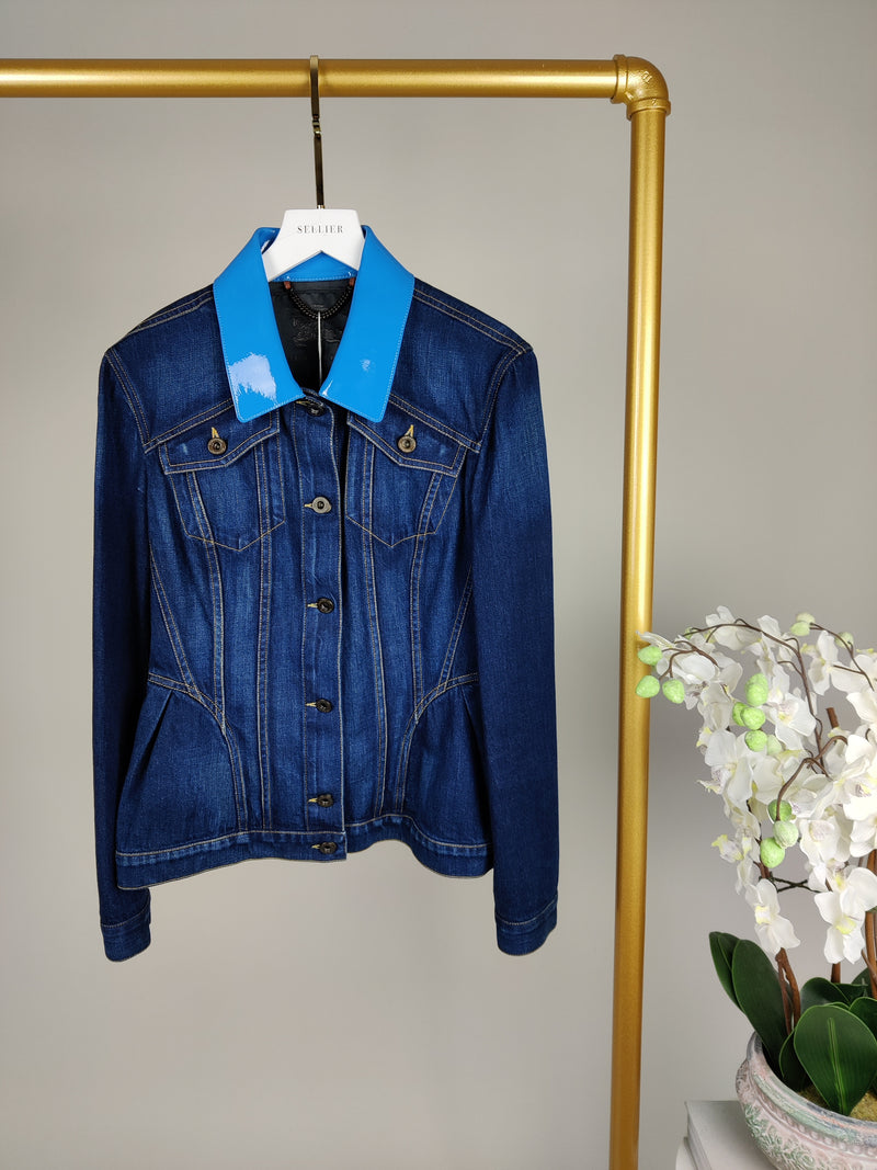 Burberry Denim and Leather Jacket Size UK8