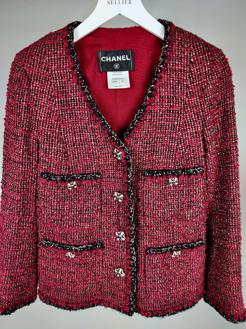 Chanel Red and Gold Threaded Blazer Size UK8