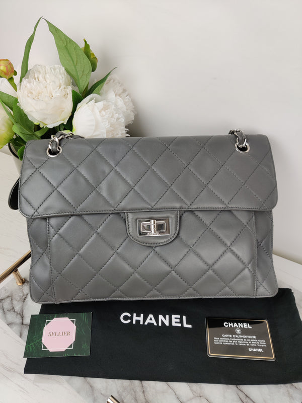 Chanel Large Warm Grey Quilted Leather Flap Bag