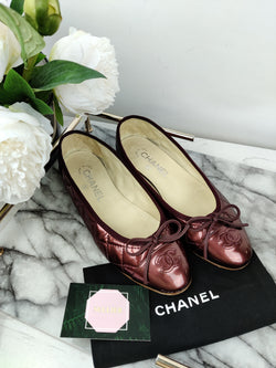 Chanel Brown Patent Ballerina Pumps Size 36.5