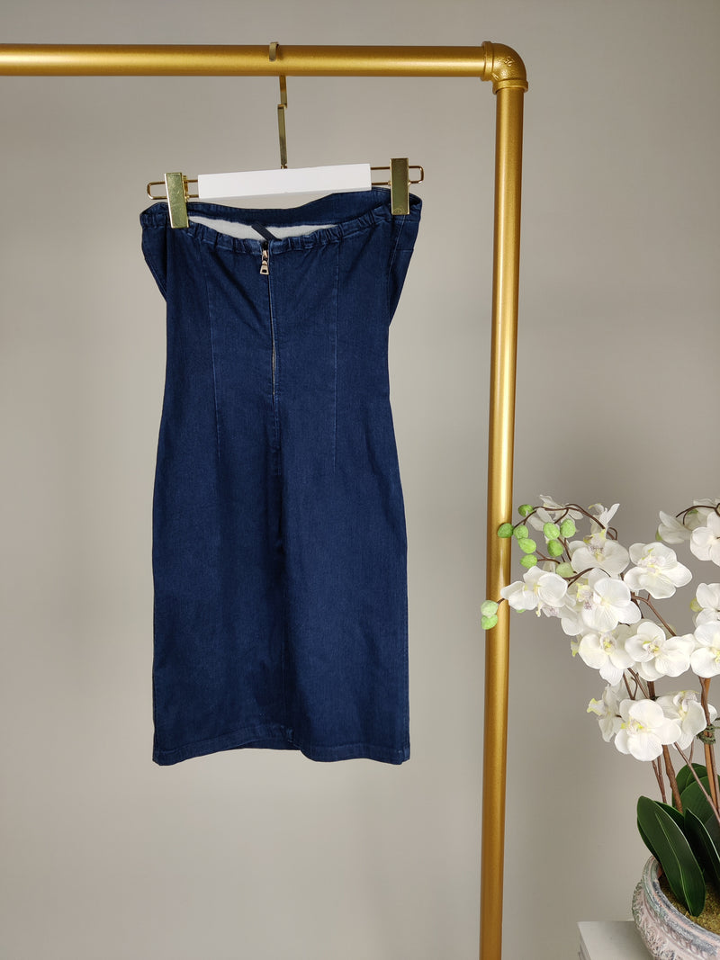 Prada Blue Denim Bandeaux Stretch Dress Size 40 (UK8)