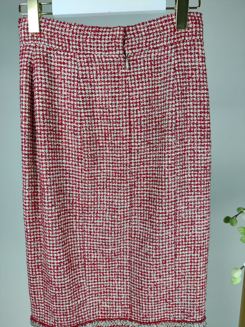 Chanel Red and Cream Tweed Button Skirt Size Size 36 (UK 8)
