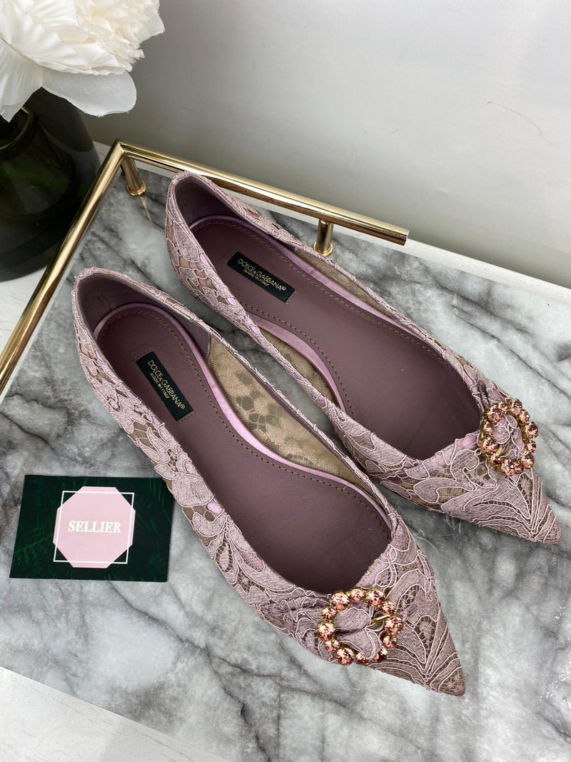 Dolce & Gabbana Pink Flat Pumps with Crystal Details EU 39 (UK 6)