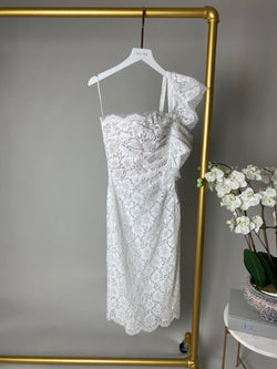Valentino White One Shoulder Lace Dress Size UK10