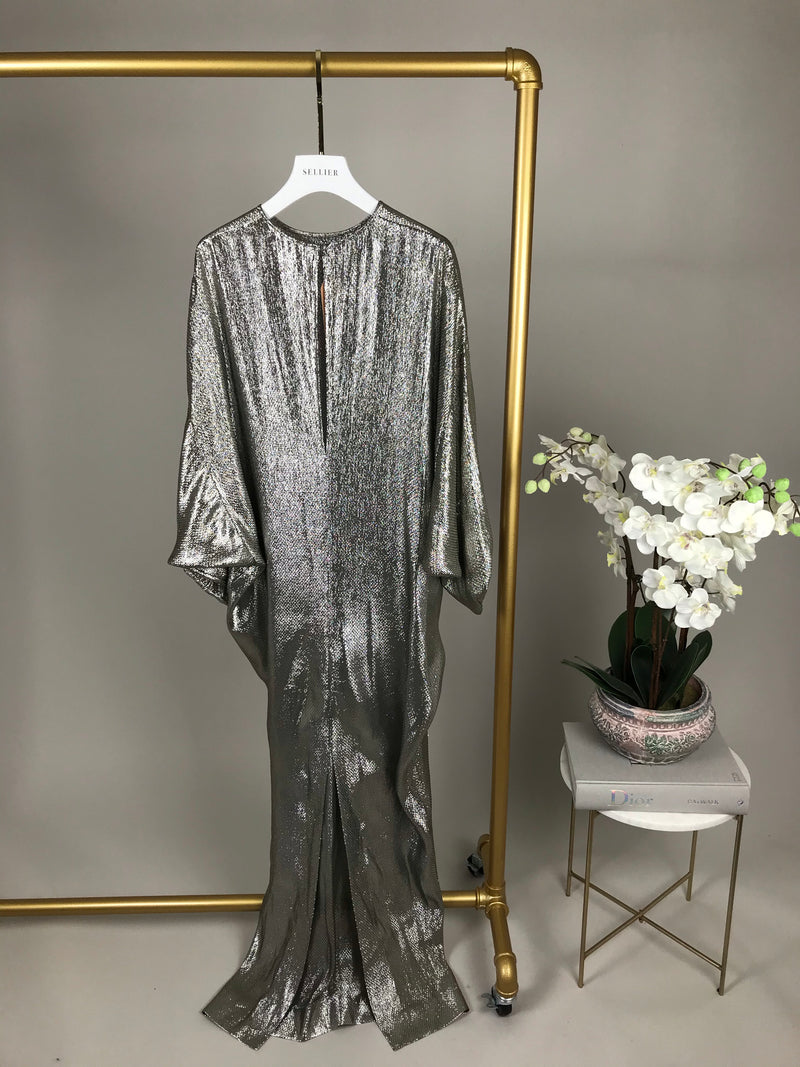 Alessandra Rich Silver Drape V-Neck Dress Size UK12
