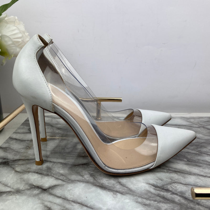 Gianvito Rossi Perspex and White Leather Heels Size 38.5