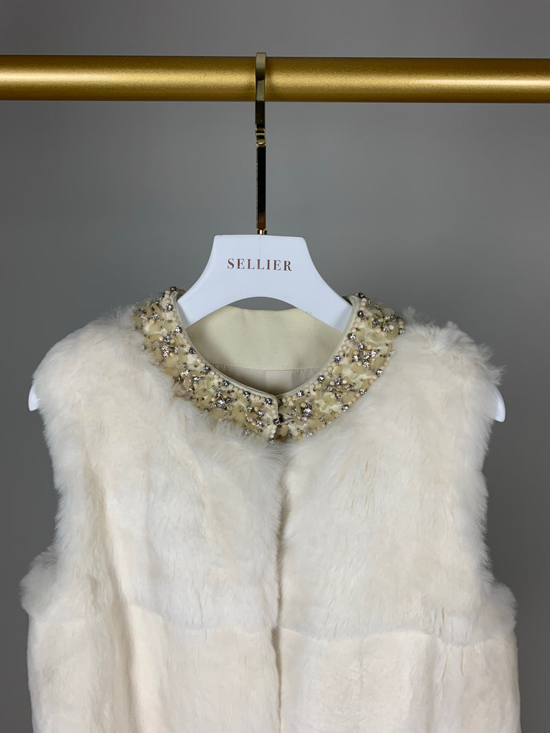 Miu Miu Cream Fur Gilet with Crystal Collar Size 40 (UK8)