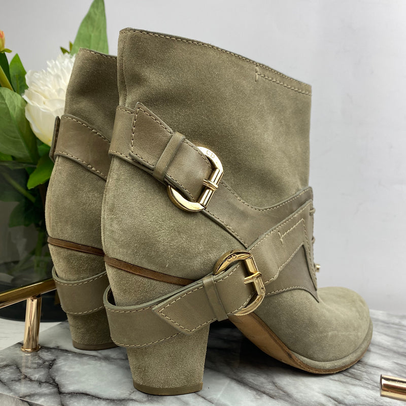 Christian Dior Beige Suede and Leather Buckle Boots Size 41