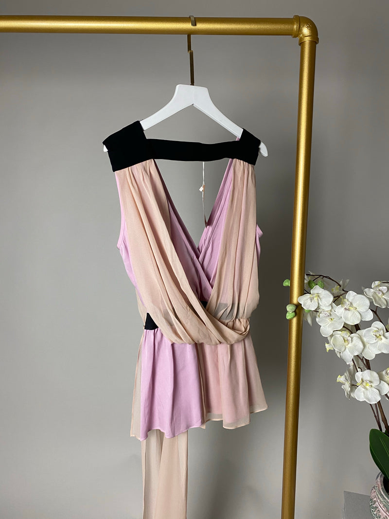Vionnet Pink and Black Drape Top Size 44 (UK12)