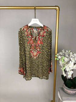 Browns Leopard Print Embellished Beach Top Size XS (UK6)