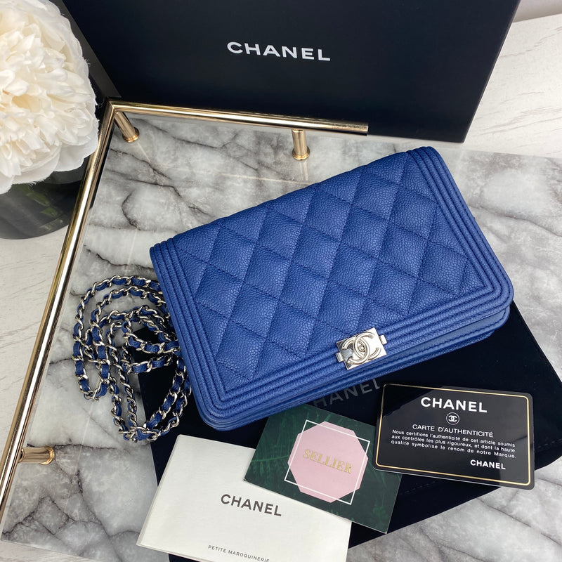 Chanel Boy Wallet On Chain in Caviar and Silver Hardware