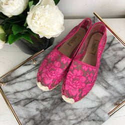 Valentino Pink Lace Espadrilles Size 39