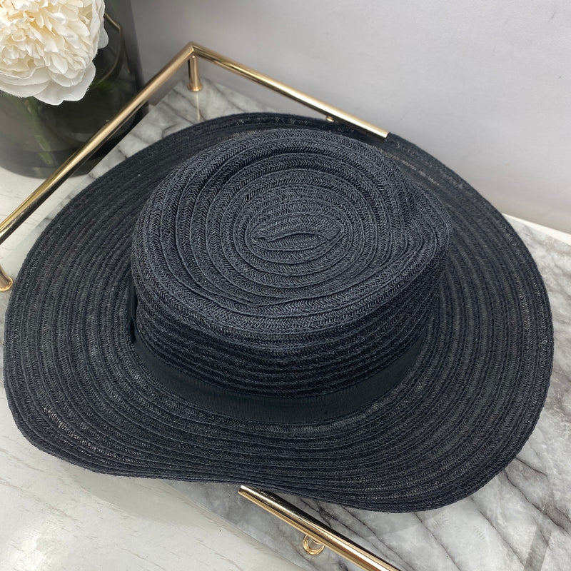 Maison Michel Black Straw Woven Hat Size L