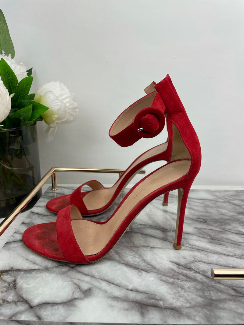 Gianvito Rossi Portofino 70 Red Suede Sandals Size 39.5