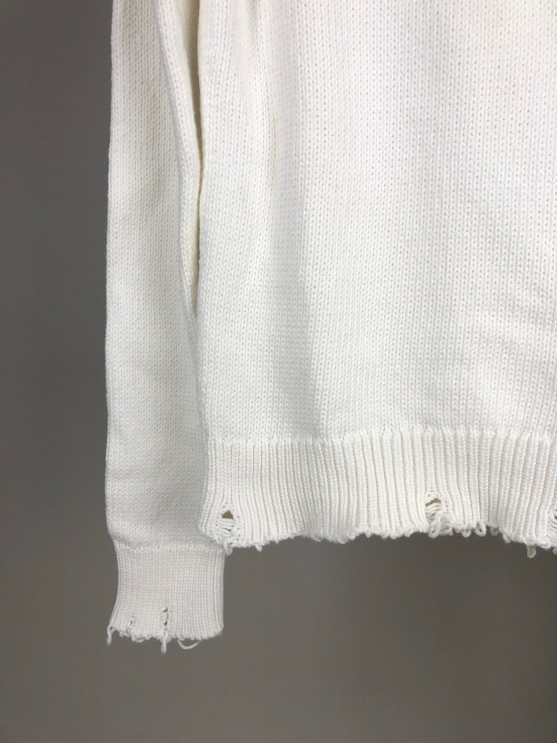 Saint Laurent White Frayed Knit Jumper Size XS (UK6)