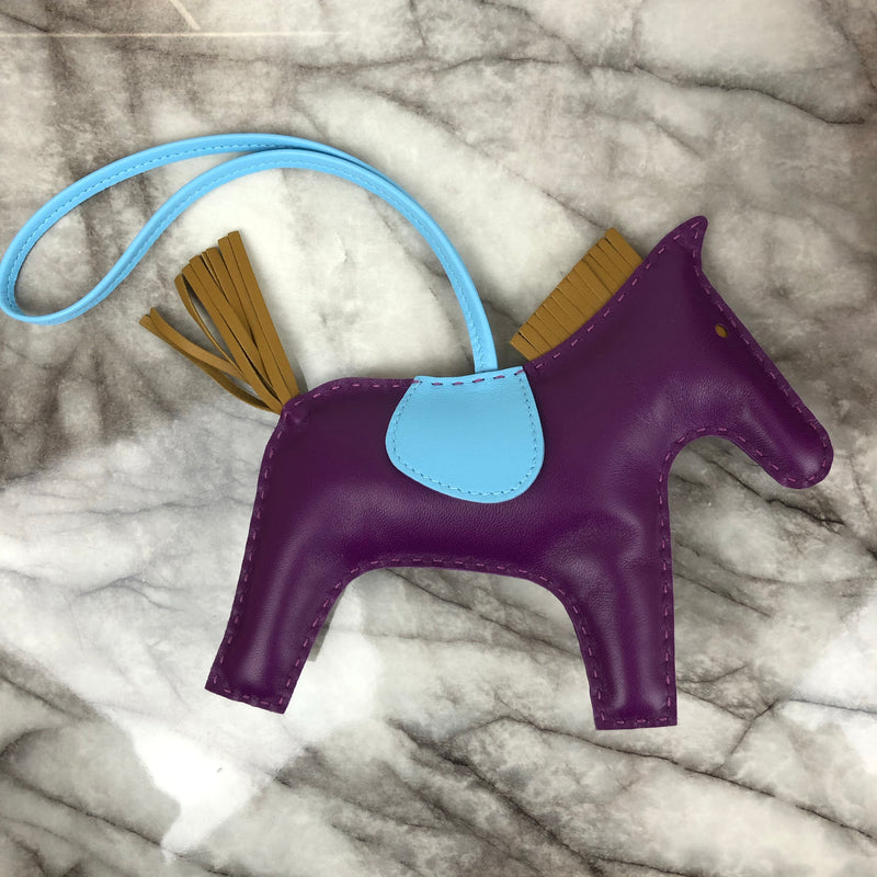 Hermes Rodeo Charm in Blue & Purple