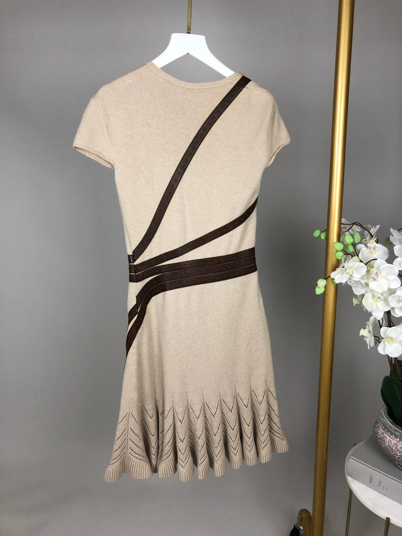 Alexander McQueen Cashmere Knit and Leather Dress Size 8UK