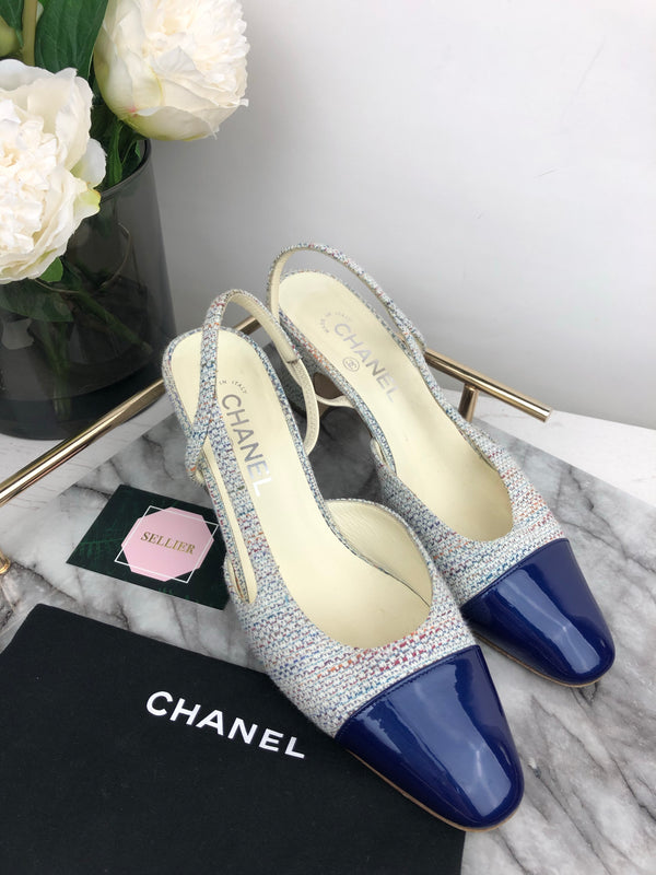 Chanel Tweed and Patent Slingback Heels Size 40