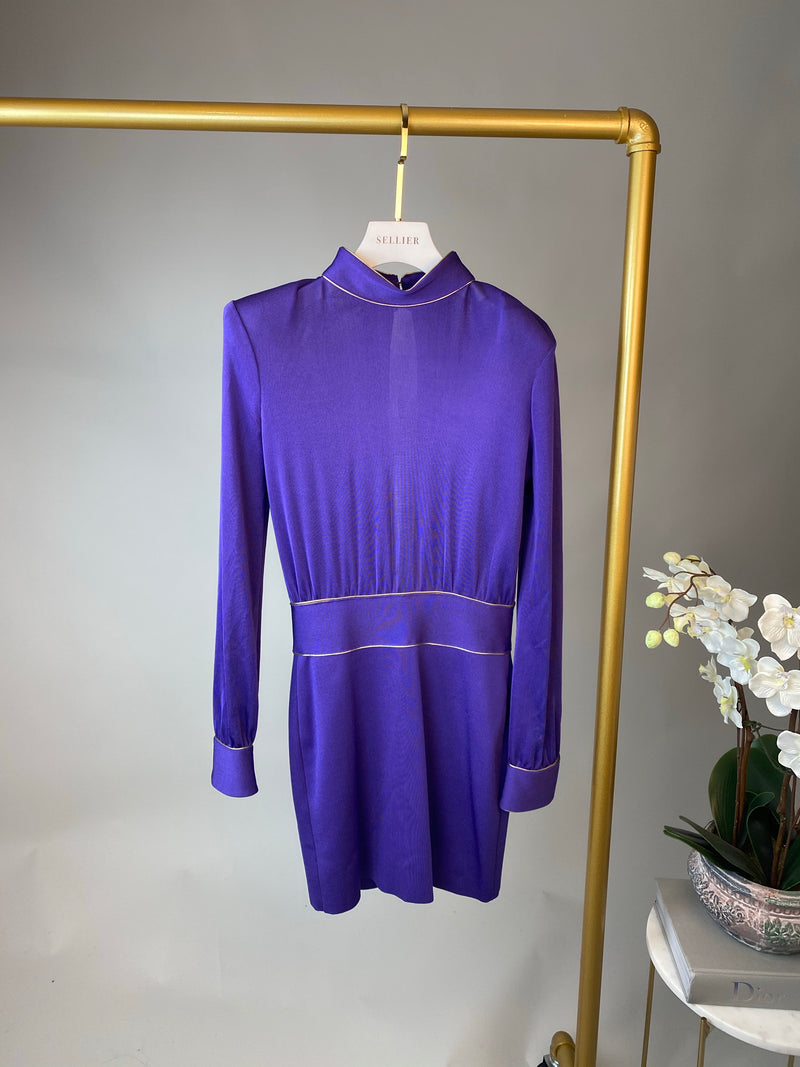 Balmain Indigo and Gold Bodycon Dress Size 36