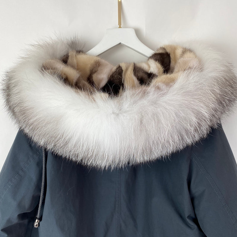 FF Collection Charcoal Mink and Fox Fur Parka Coat Size L