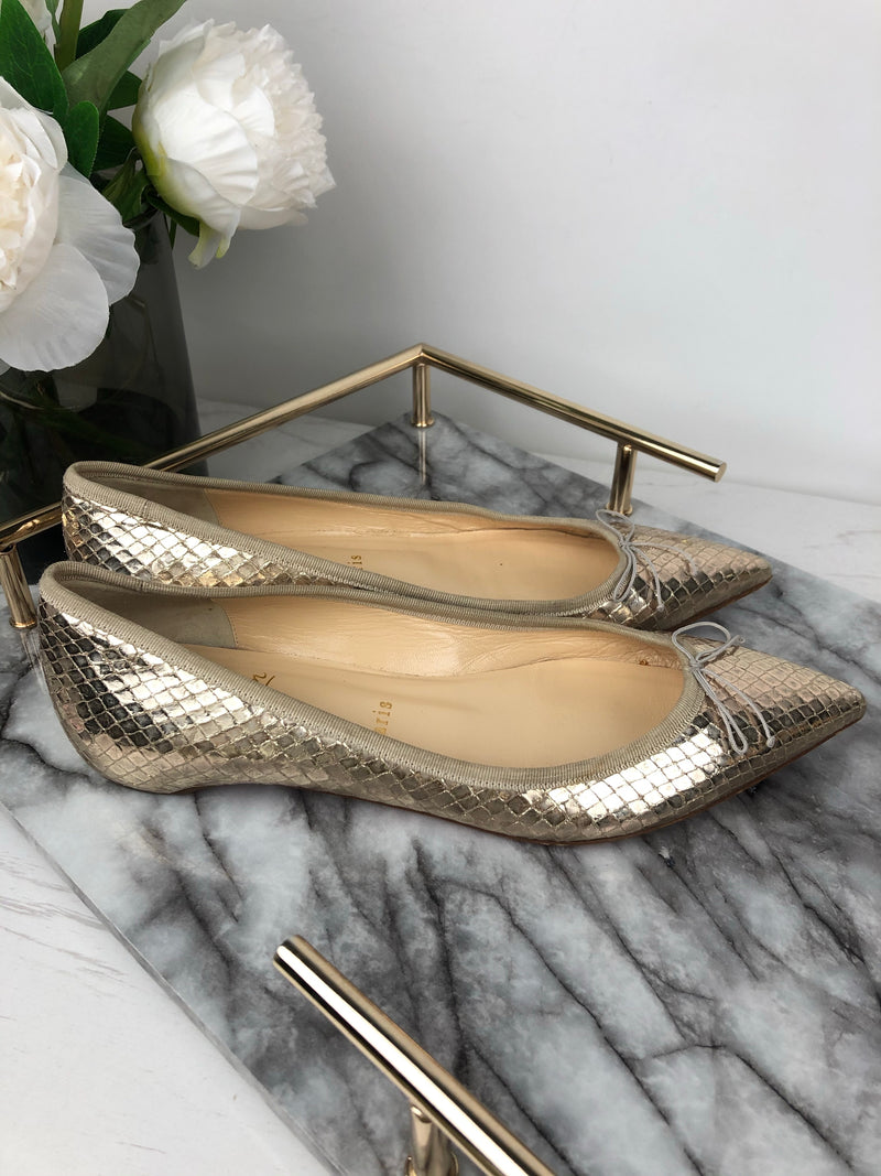 Christian Louboutin Gold Python Pointed Flats Size 38.5