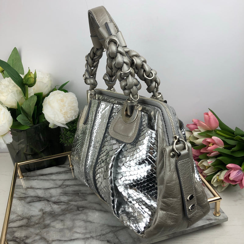 Chloe Grey and Silver Python Handbag