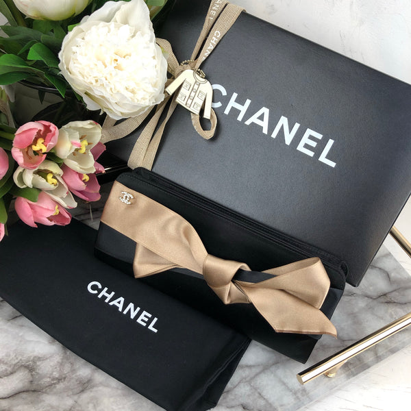 Chanel Satin Bow Clutch in Black and Nude