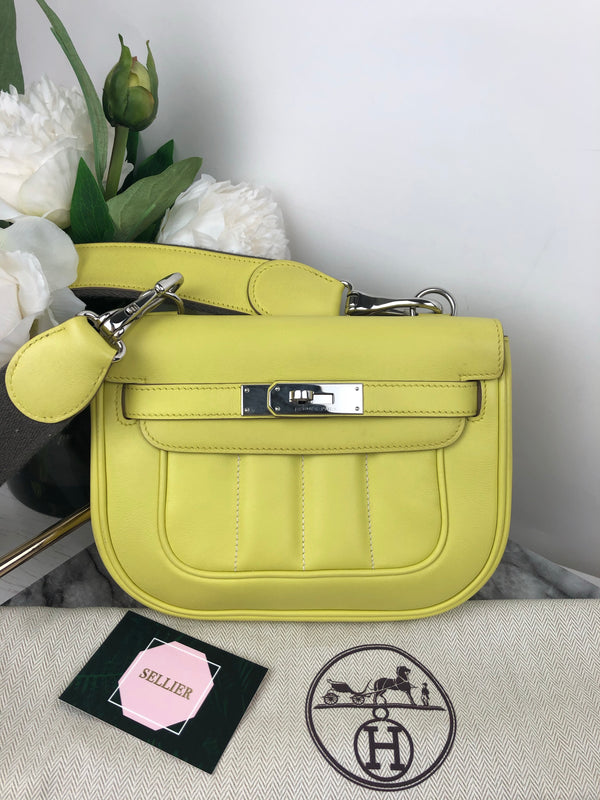 *Rare* Hermes Mini Berline Bag in Soufre Swift and Palladium Hardware