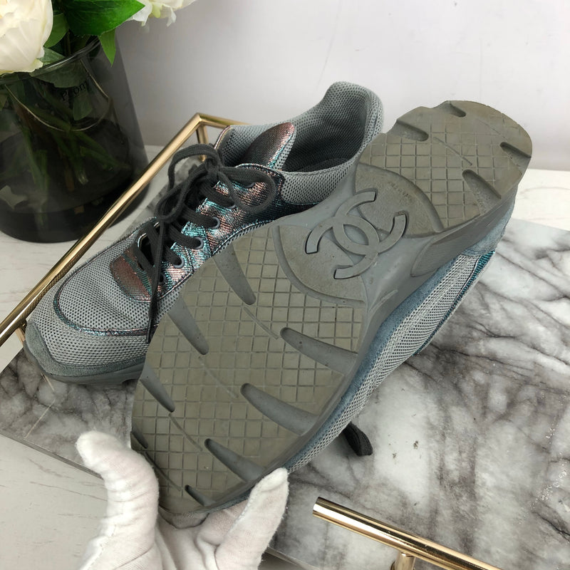 Chanel Grey and Iridescent Metallic Trainers Size 40.5
