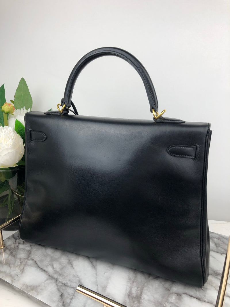 Hermes Kelly 35cm in Black Box Calf Leather and Gold Hardware
