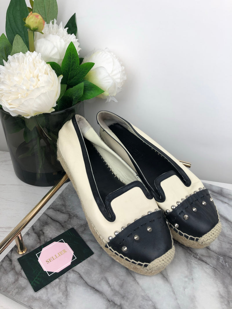 Alexander McQueen Cream and Black Leather Espadrilles Size 37