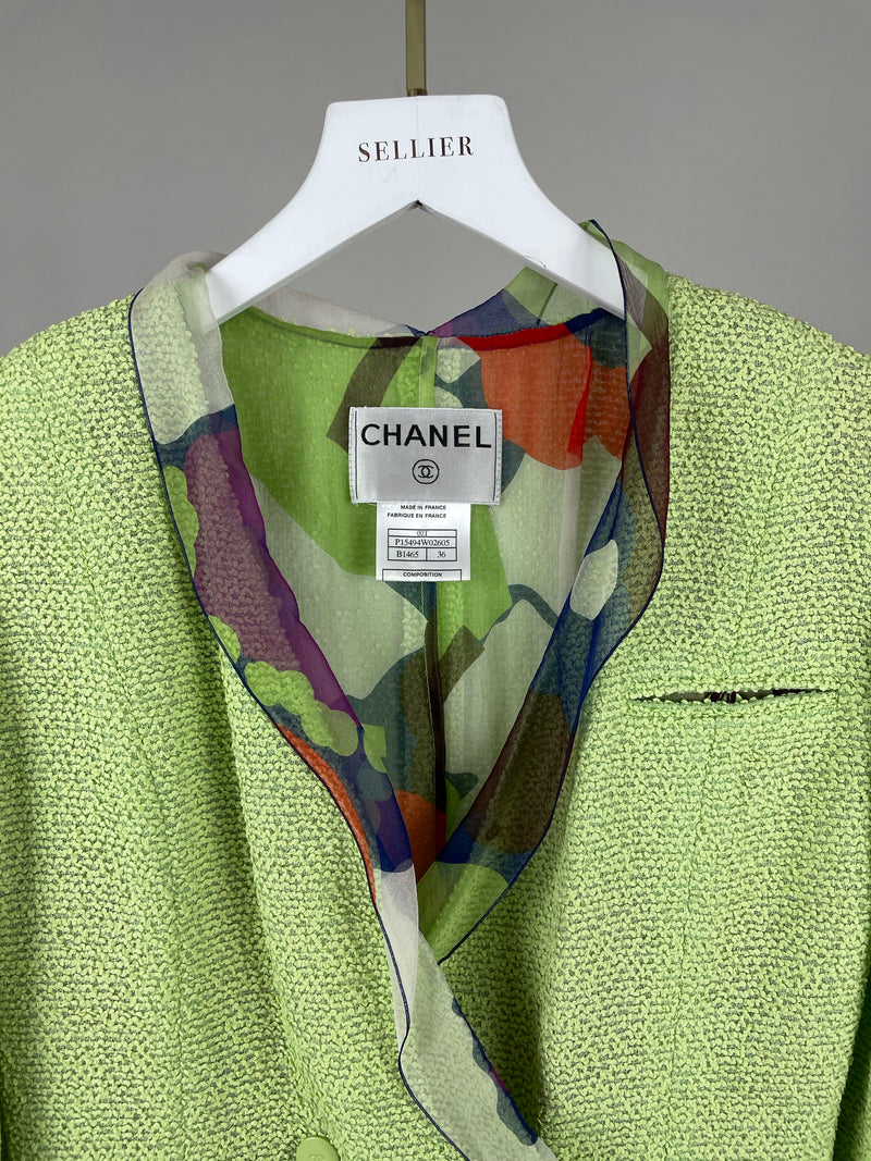 Chanel Lime Tweed and Silk Jacket and Skirt Set Size 36 (UK8)
