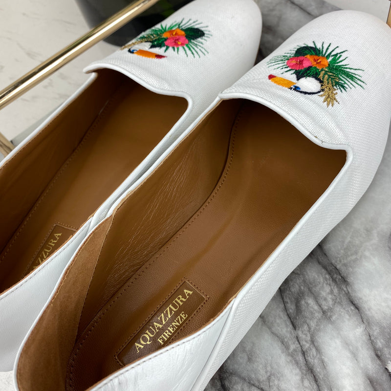 Aquazurra White Loafers with Pelican Embroidery 41